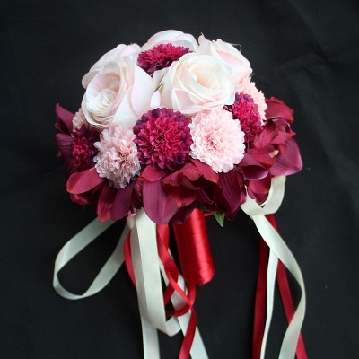 Silk Rose Artificial Orchid and Marigold Wedding Bouquet_3