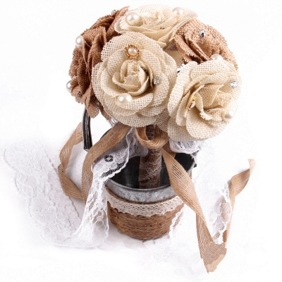 Brown Bouquet for Wedding with ribbon strings_1