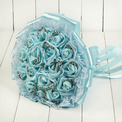 Glitter Crystal Beading Wedding Bouquets with Lace_9
