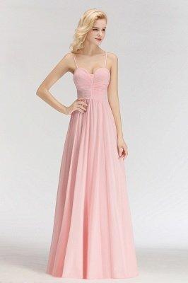 Pink Chiffon Simple Floor-length Sleeveless A-line Spaghetti-Strap Zipper Bridesmaid Dress_5