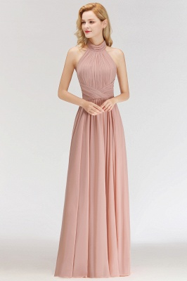 Halter A-line Chiffon Floor-length Backless Sleeveless Fashion Bridesmaid Dress_3