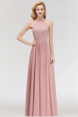 Elegant A-Line Chiffon Bridesmaid Dresses   Halter Lace Wedding Party Dresses_1