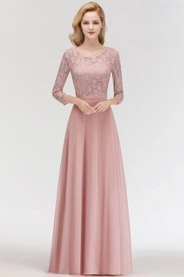Simple Chiffon A-Line Bridesmaid Dresses | Scoop 3/4 Sleeves Lace Formal Prom Dresses_1
