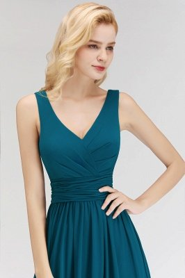 NORA | Cheap A-line V-neck Sleeveless Long Ruffles Chiffon Bridesmaid Dresses_5