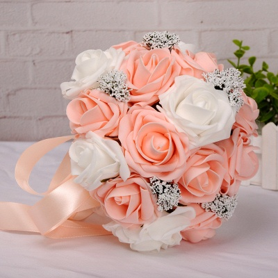 Two Colors Silk Flowers Wedding Bouquet with Ribbon_7