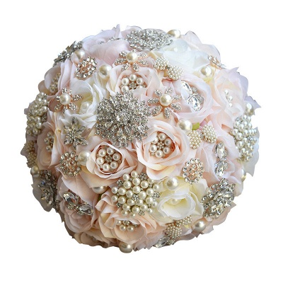 Shiny Crystal Beading Silk Rose Wedding Bouquet in White and Pink_7