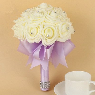 Ivory Silk Beading Rose Bouquet with Colorful Ribbons_7