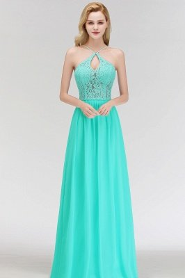 A-line Keyhole Neckline Lace Top Long Spaghetti Bridesmaid Dress In Stock_7