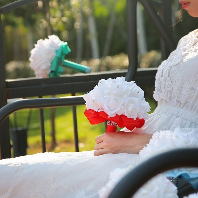 White Silk Wedding Bouquet with Colorful Handles_15