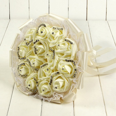 Glitter Crystal Beading Wedding Bouquets with Lace_2