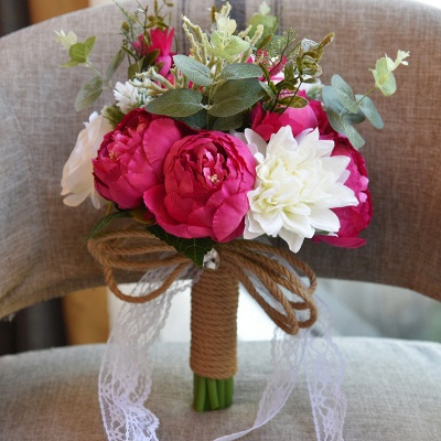 Real Touch Colorful  Artifial Roses Wedding Bouquet_5