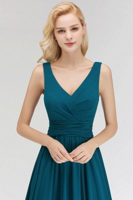 NORA | Cheap A-line V-neck Sleeveless Long Ruffles Chiffon Bridesmaid Dresses_8