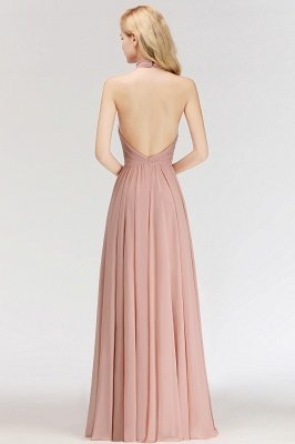 Halter A-line Chiffon Floor-length Backless Sleeveless Fashion Bridesmaid Dress_7
