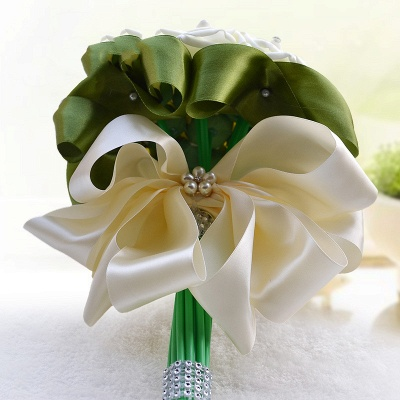 Ivory Silk Beading Rose Bouquet with Colorful Ribbons_12