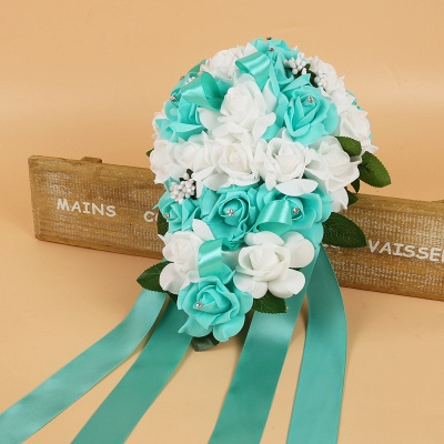 Colorful Silk Rose Wedding Bouquet with Ribbons_10