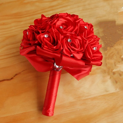 Colorful Silk Rose Wedding Bouquet with Crystals_4