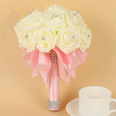 Ivory Silk Beading Rose Bouquet with Colorful Ribbons_3