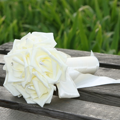 Simple Silk Rose wedding Bouquet in Multiple Colors_2
