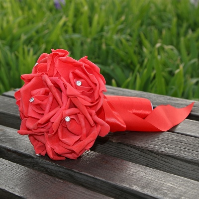Simple Silk Rose wedding Bouquet in Multiple Colors_5
