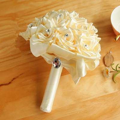 Colorful Silk Rose Wedding Bouquet with Crystals_2