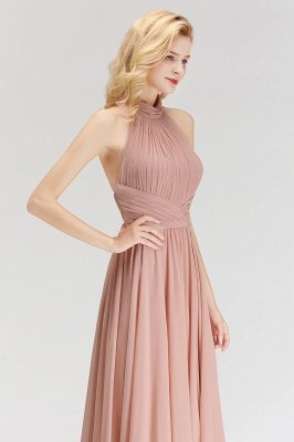Halter A-line Chiffon Floor-length Backless Sleeveless Fashion Bridesmaid Dress_4