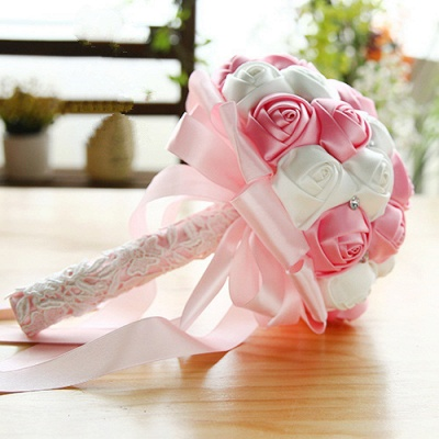 Two Colors Silky Rose Bouquet for wedding_2