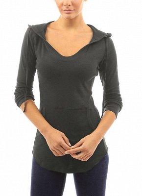 Fashion Autumn Women Hooded Drawstring Front Pocket Long Sleeves Tee_5