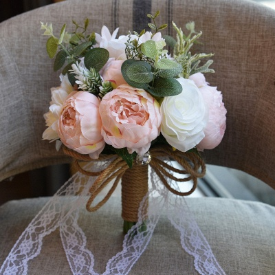 Real Touch Colorful  Artifial Roses Wedding Bouquet_6
