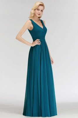 NORA | Cheap A-line V-neck Sleeveless Long Ruffles Chiffon Bridesmaid Dresses_7