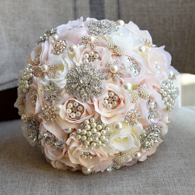 Shiny Crystal Beading Silk Rose Wedding Bouquet in White and Pink_6