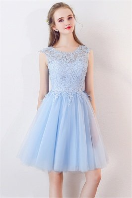Baby-Blue Lace  Short Appliques Sleeveless Homecoming Dresses_5