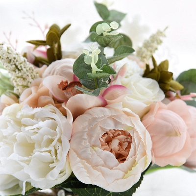Real Touch Colorful  Artifial Roses Wedding Bouquet_15