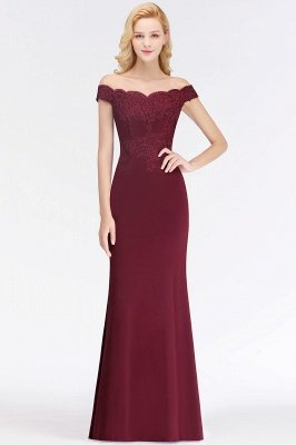 Cheap Mermaid Off-the-shoulder Long Appliques Satin Bridesmaid Dress in Stock_2