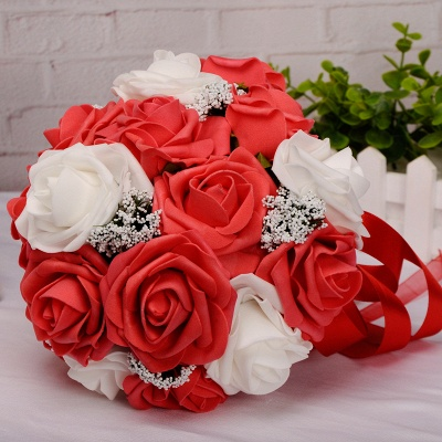 Two Colors Silk Flowers Wedding Bouquet with Ribbon_3