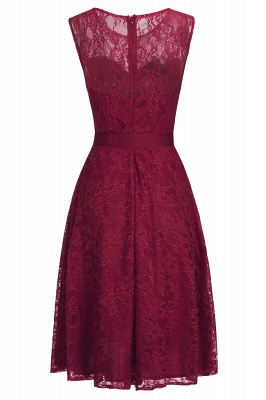Affordable A-line Sleeveless Burgundy Lace Dresses with Bow_6