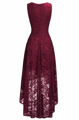 Cheap A-line Hi-lo V-neck Sleeveless Burgundy Lace Dress in Stock_11