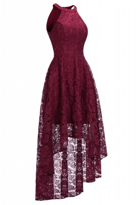 Cheap Halter Sleeveless Sheath Asymmetrical Burgundy Lace Dress in Stock_2