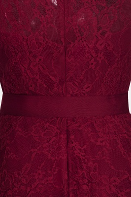 Affordable A-line Sleeveless Burgundy Lace Dresses with Bow_10