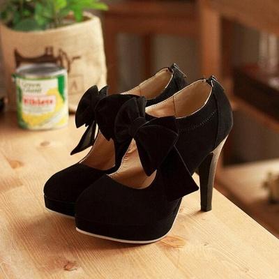 Round Toe Bowtie Hollow Stiletto Heel Women's Boots_7