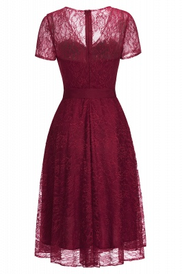 Cheap V-neck Short Sleeves Lace Dress with Bow Sash in Stock_9