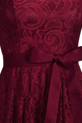 Stunning V-neck Short Sleeves Lace Dresses with Bow Sash_5