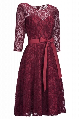 Cheap Vintage A-line Burgundy Lace Dress with Sleeves in Stock_2
