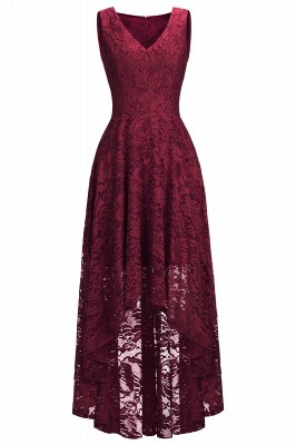 Cheap A-line Hi-lo V-neck Sleeveless Burgundy Lace Dress in Stock_10