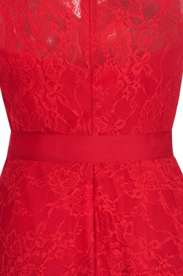 Cheap A-line Sleeveless Burgundy Lace Dress with Bow in Stock_9
