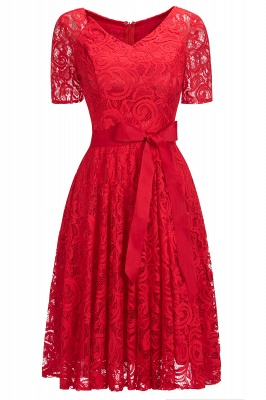 Stunning V-neck Short Sleeves Lace Dresses with Bow Sash_3
