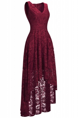 Cheap A-line Hi-lo V-neck Sleeveless Burgundy Lace Dress in Stock_3