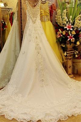 Court Train V-neck Sleeveless Crystal Beaded Wedding Dresses_3
