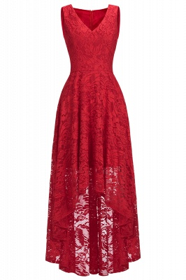 Cheap A-line Hi-lo V-neck Sleeveless Burgundy Lace Dress in Stock_7