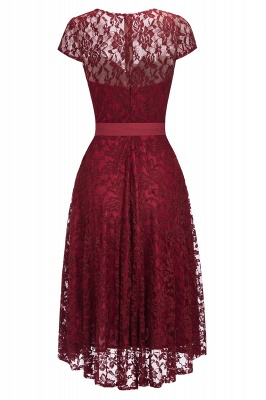 Short Sleeves A-line Burgundy Lace Dresses with Bow_2