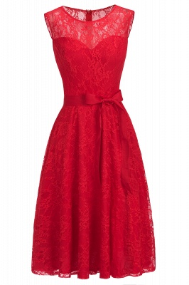 Cheap A-line Sleeveless Burgundy Lace Dress with Bow in Stock_8